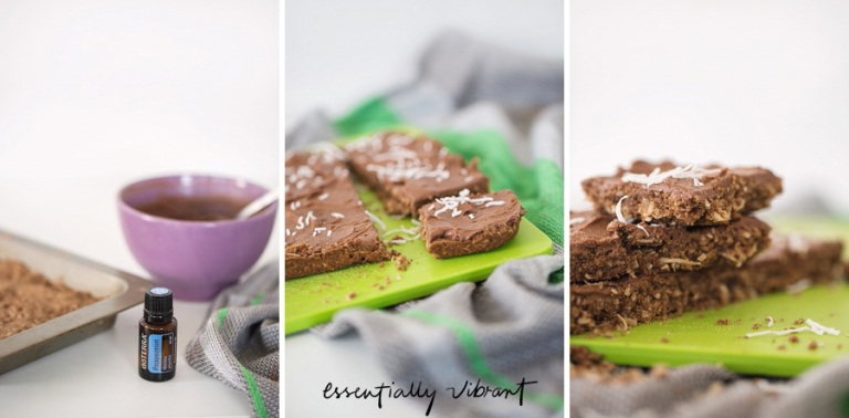 chocolate slice with peppermint